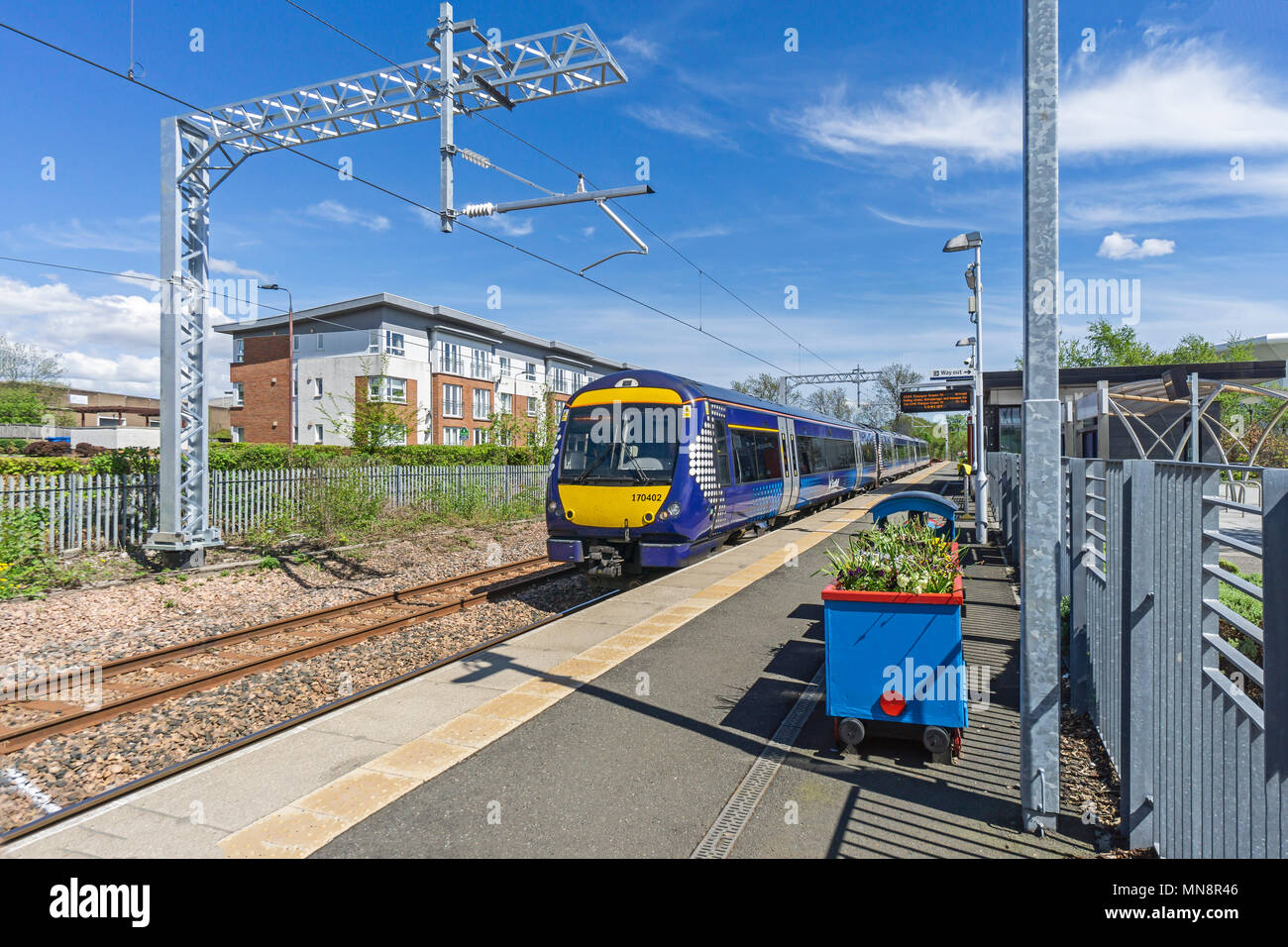 Class 170 DMU at Scotrail railway station in Alloa Clackmannanshire Scotland UK - Stock Image