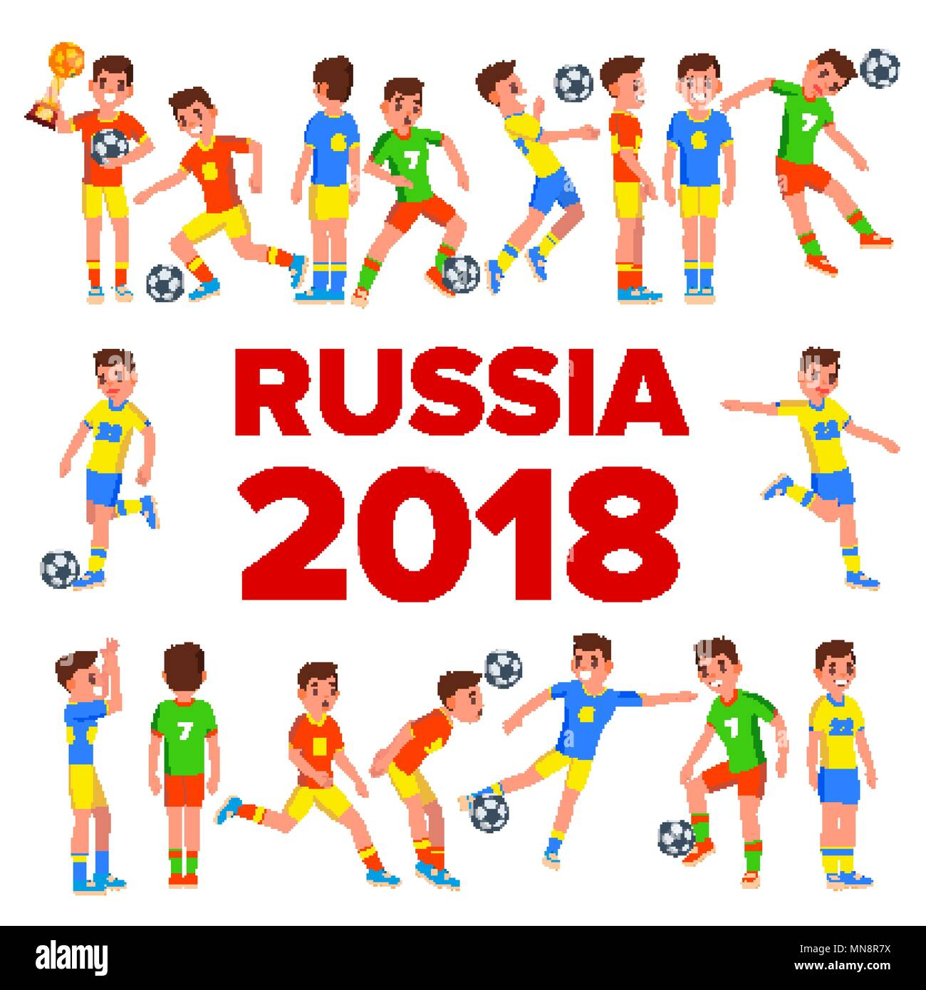 Soccer Player Set Vector. 2018 FIFA World Cup. Russia
