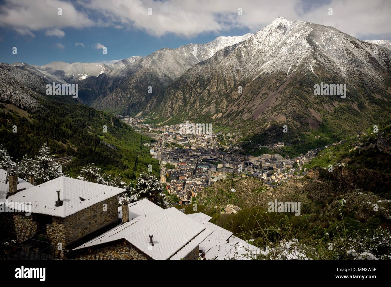 View of Andorra la Vella and Escaldes-Engordany Stock Photo