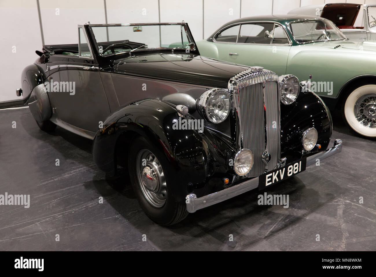 Winston Churchill's  1939  Daimler DB18 Drophead Coupe by Carlton, in the Paddock area of the 2018 London Classic Car Show Stock Photo
