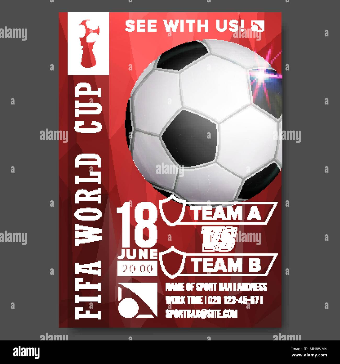 3d916db1b 2018 FIFA World Cup Poster Vector. Championship Russia 2018. Soccer Sport  Event Announcement. Banner Advertising. Professional League.
