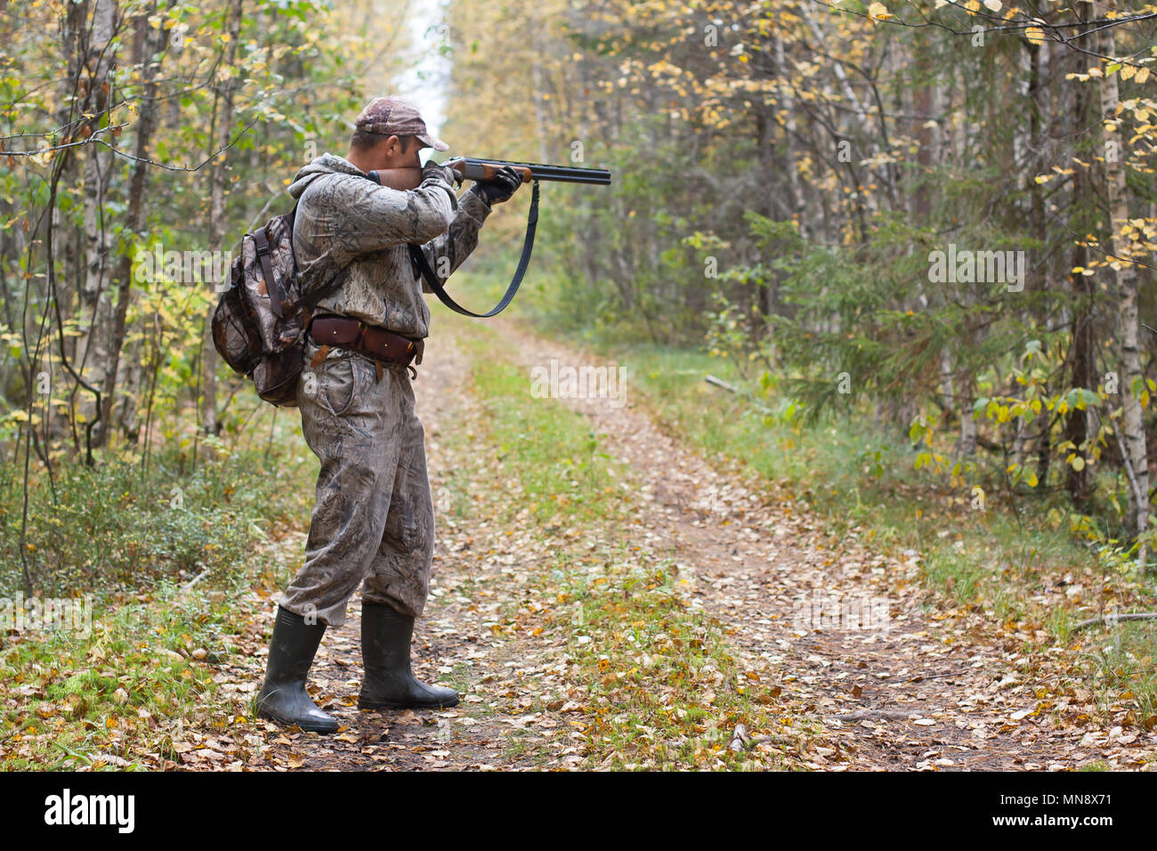 hunter taking aim from a shotgun in the wildfowl - Stock Image
