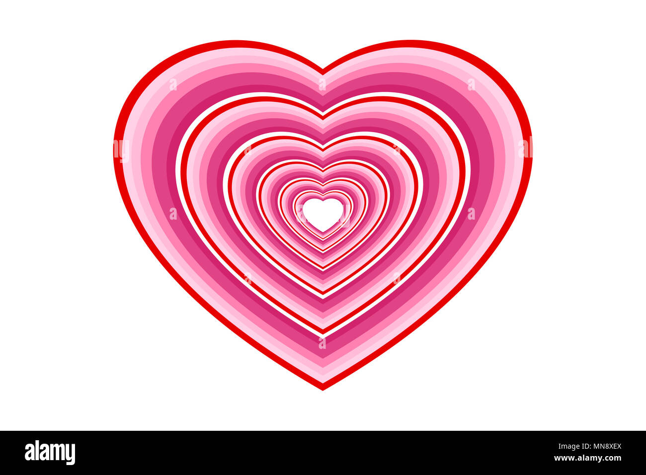Hearts In Multi Layered Pink Tone And Red Outlines Concepts Of Love