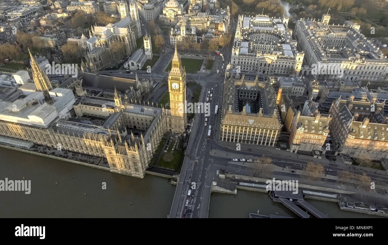 London Bird View of Houses of Parliament, Big Ben, Palace of Westminster and Gothic Historical Landmarks Buildings from Up High in England, UK - Stock Image