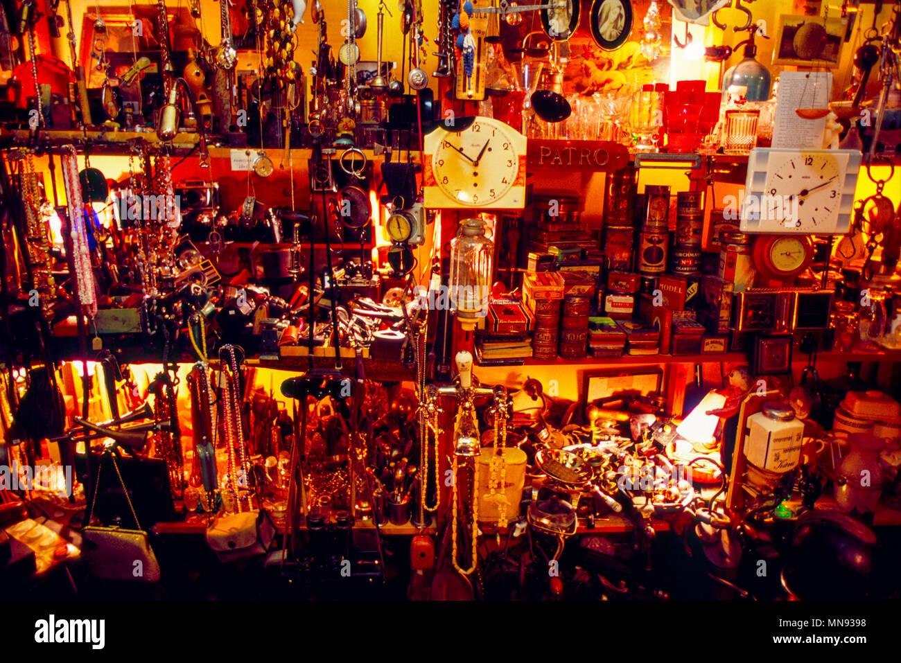 Prague, Czech Republic; Bric a brac shop in Mala Strana. - Stock Image