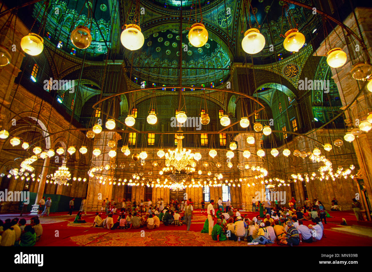 Cairo, Egypt; Prayer hall of the Mosque of Muhammad Ali Pasha or Alabaster Mosque - Stock Image