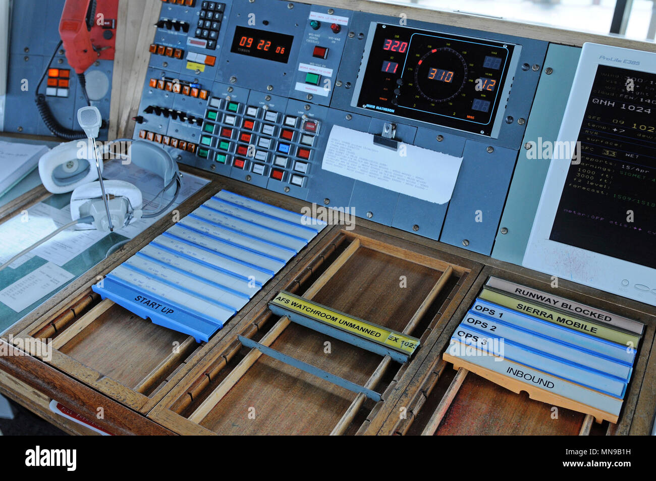 Inside air traffic control tower at Sumburgh airport in the Shetland Isles - Stock Image