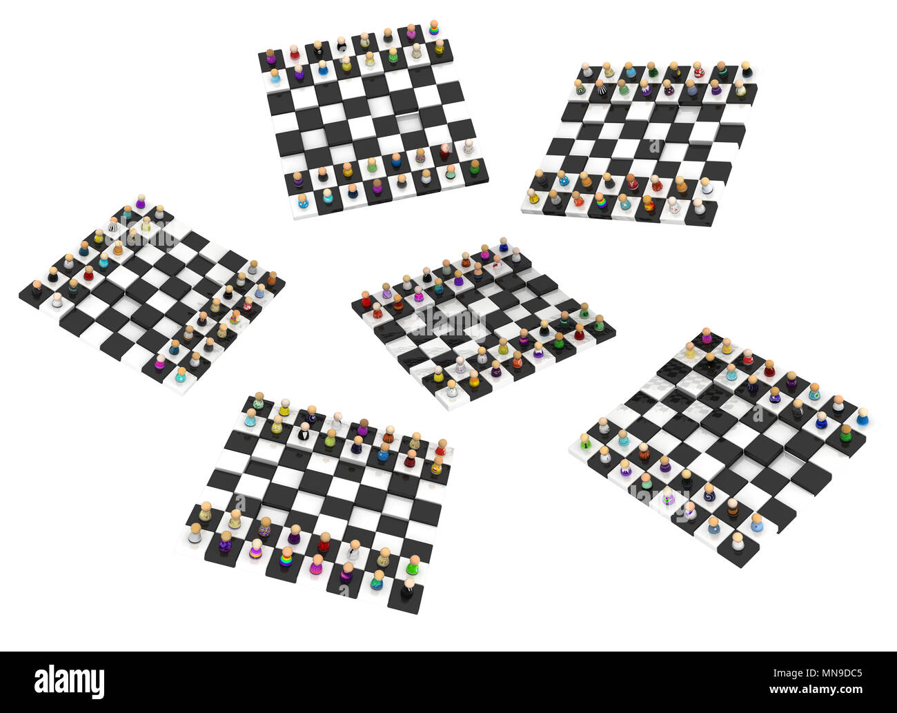 Crowd of small symbolic figures chessboards, 3d illustration, horizontal, isolated, over white - Stock Image