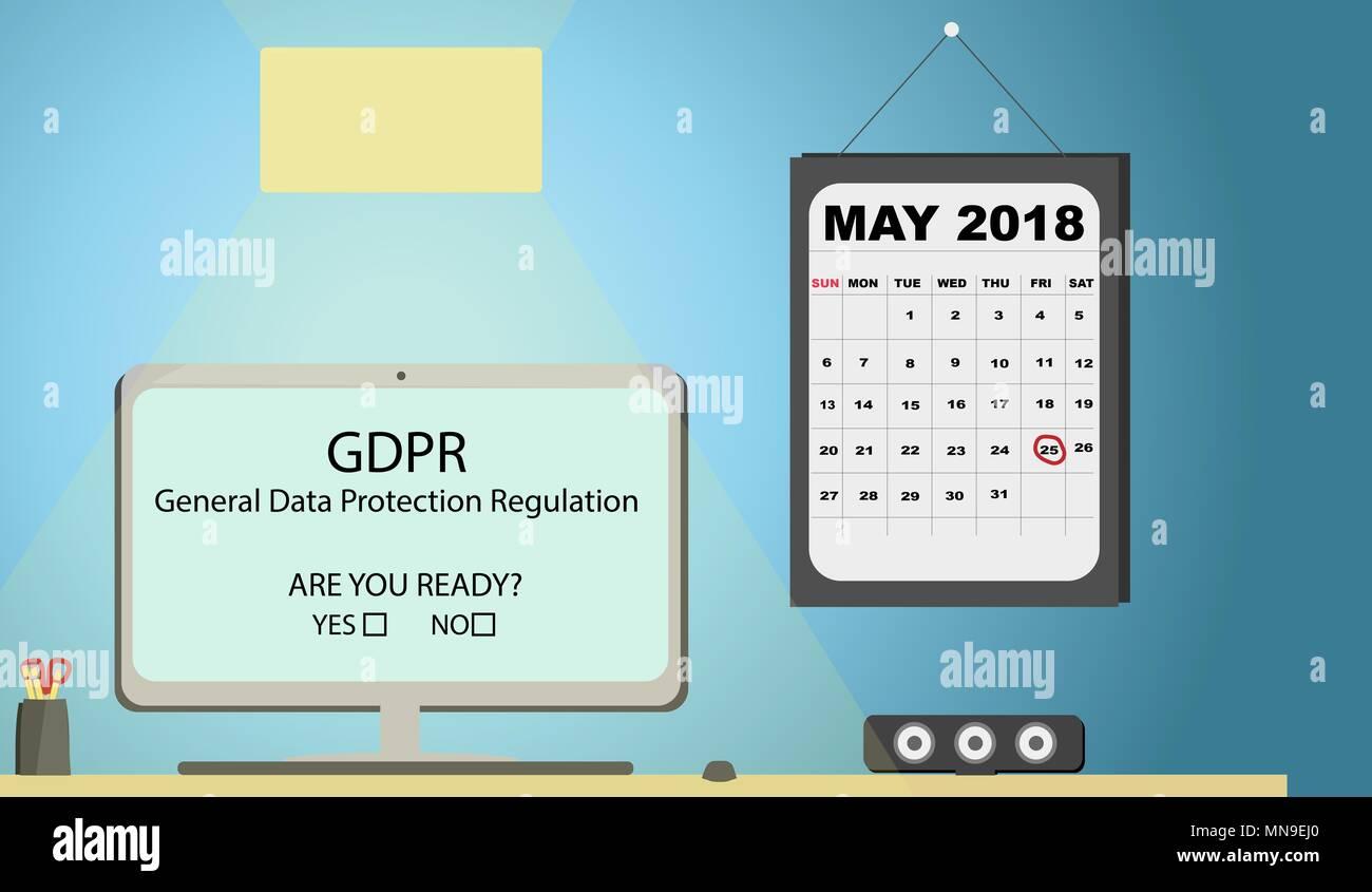 General Data Protection Regulation (GDPR) Concept Illustration - 25 May 2018. Office desk with calendar. - Stock Image