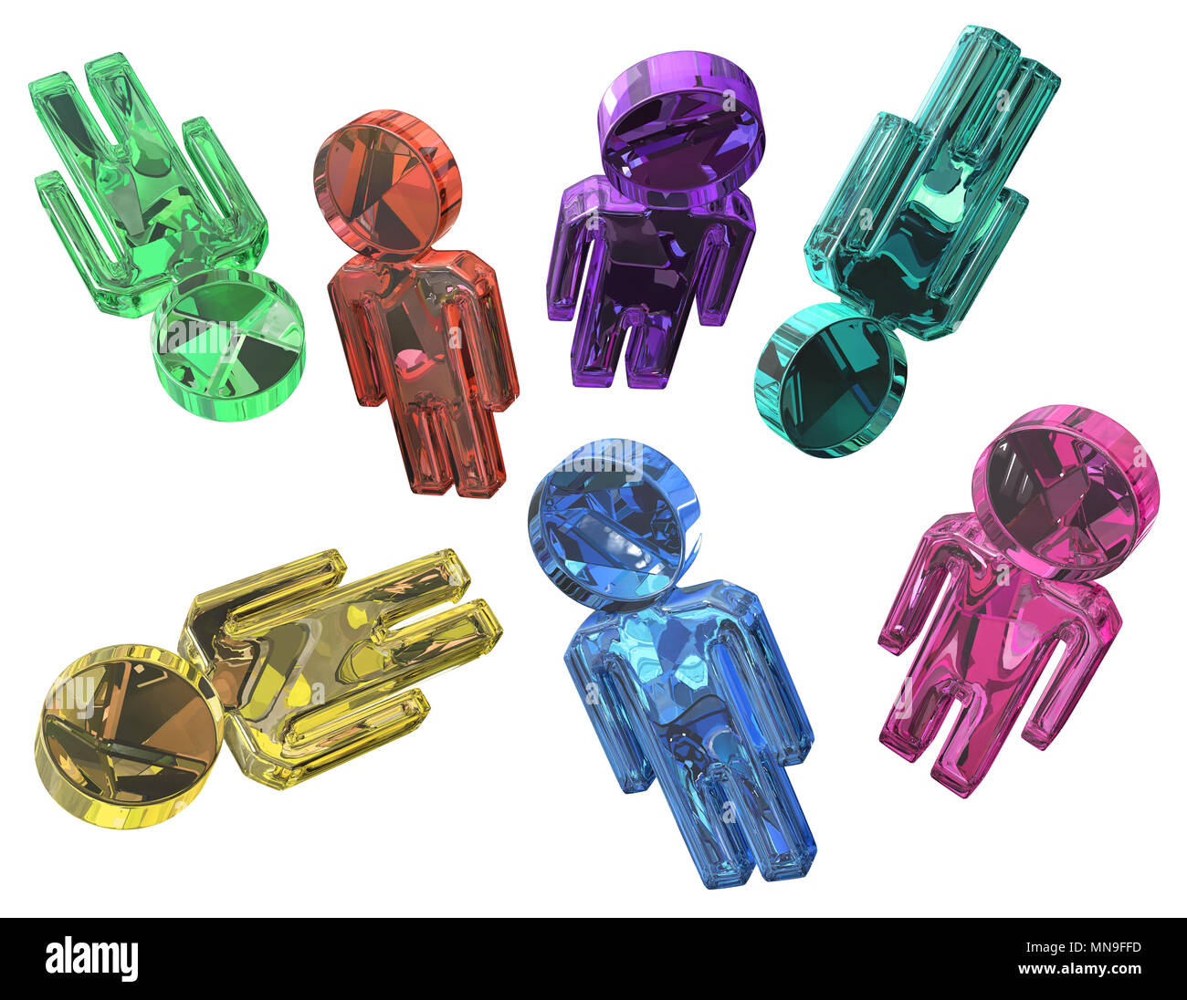 Many color crystal jewel people figures, 3d illustration, horizontal, isolated, over white - Stock Image