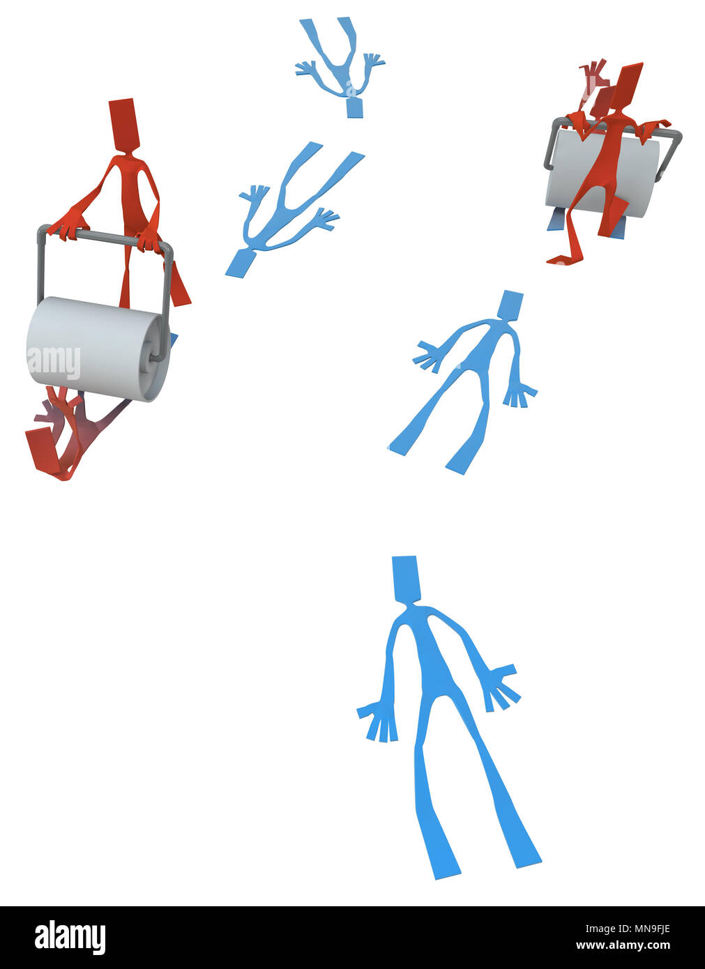 Paper man symbolic figures with road roller flattening others, 3d illustration, vertical, isolated - Stock Image