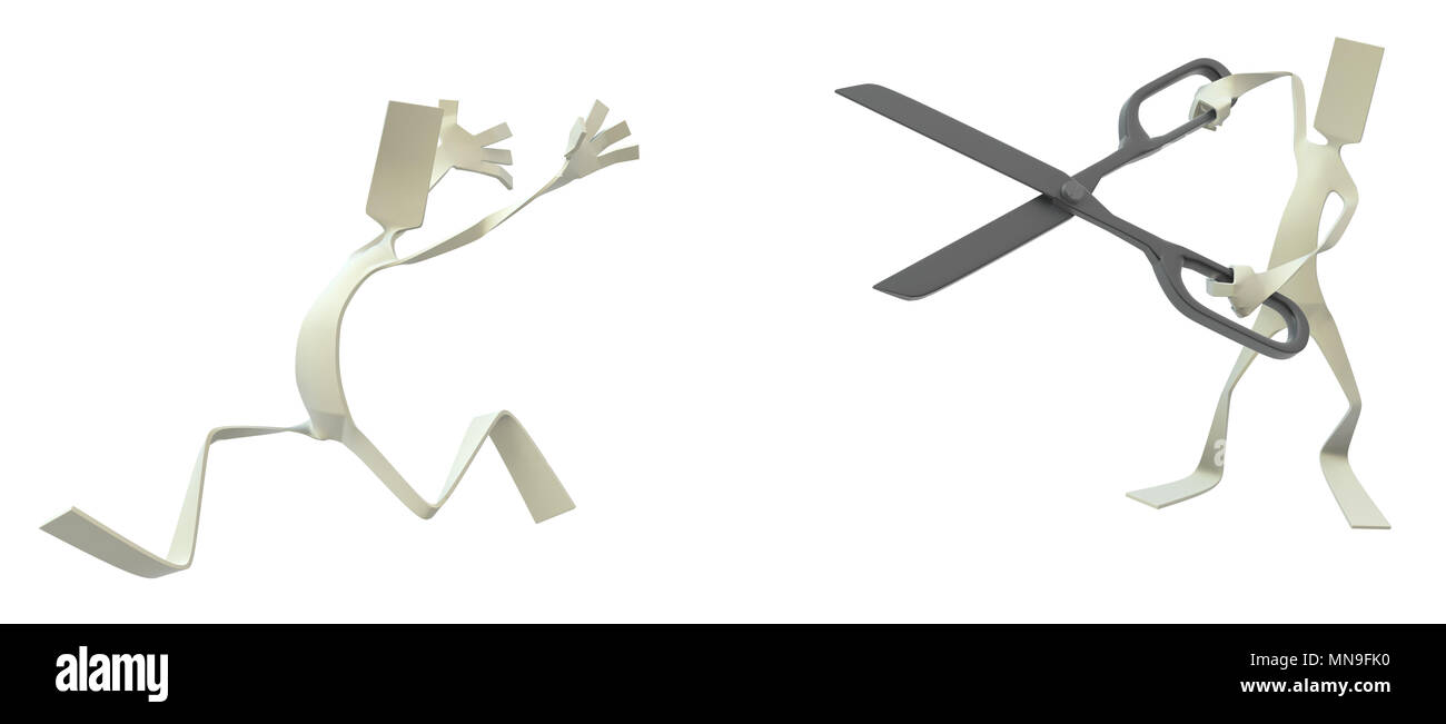 Paper man symbolic figure with scissors attacking another, 3d illustration, horizontal, isolated - Stock Image