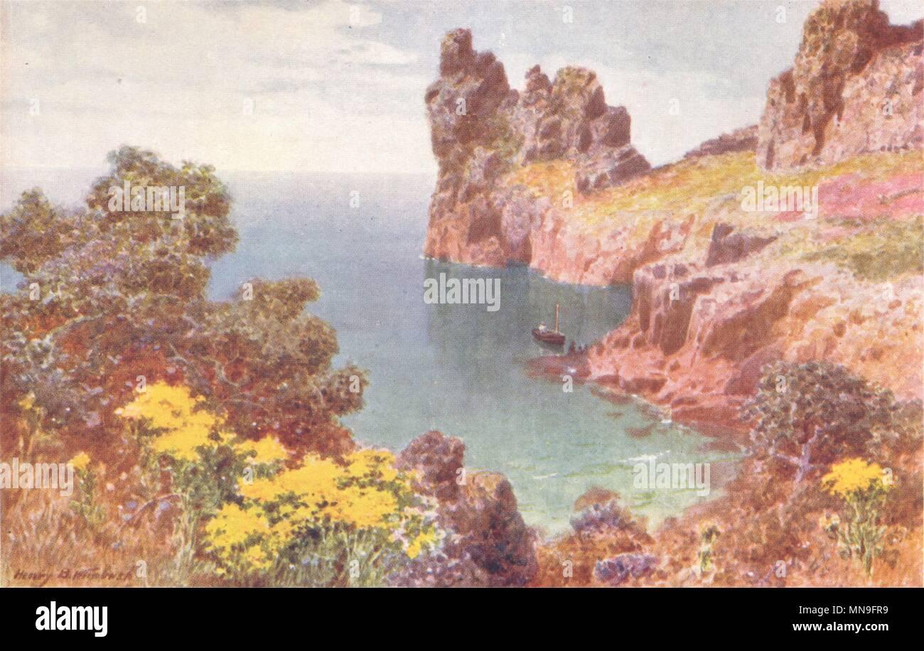 Jersey 1904 old antique print picture Mont Orgueil Castle CHANNEL ISLANDS