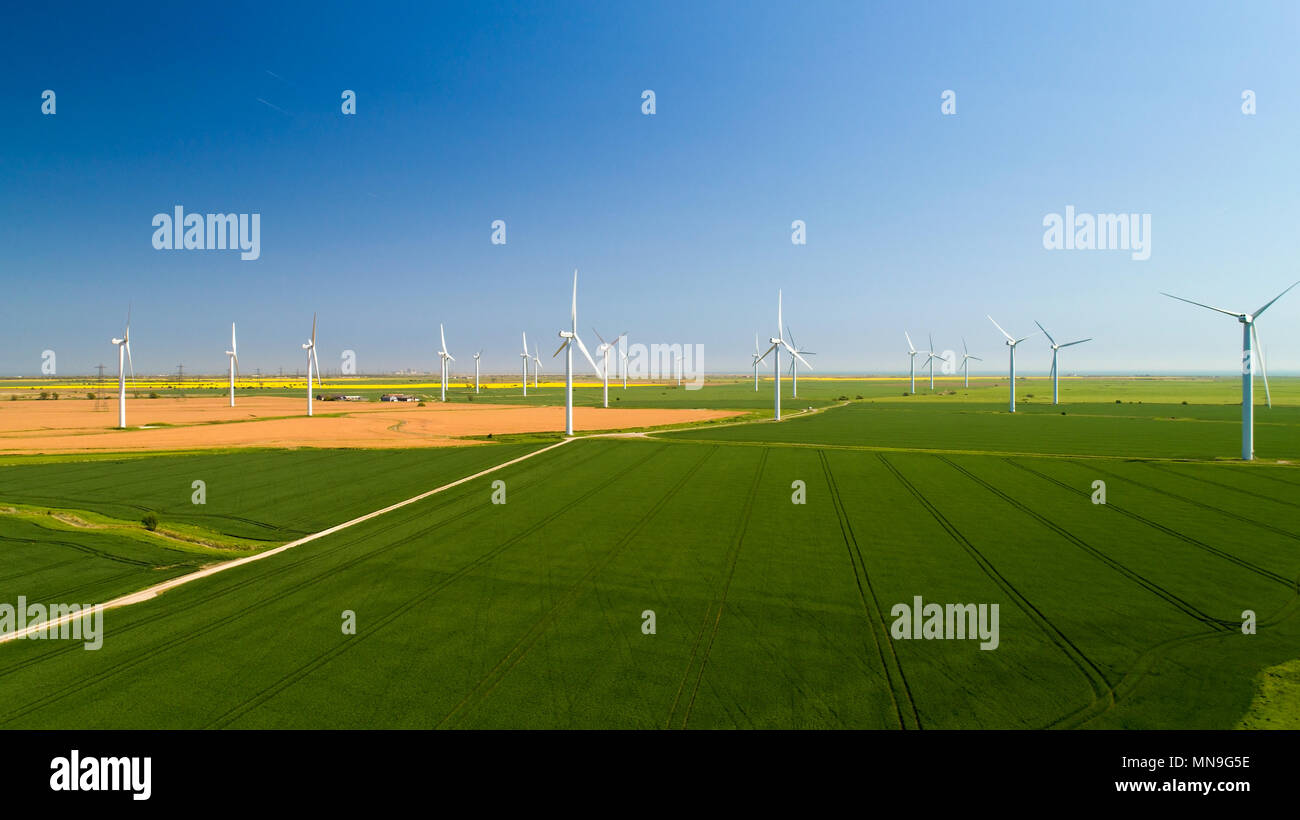 Aerial photo of wind turbines in the fields, Rye, Sussex Stock Photo