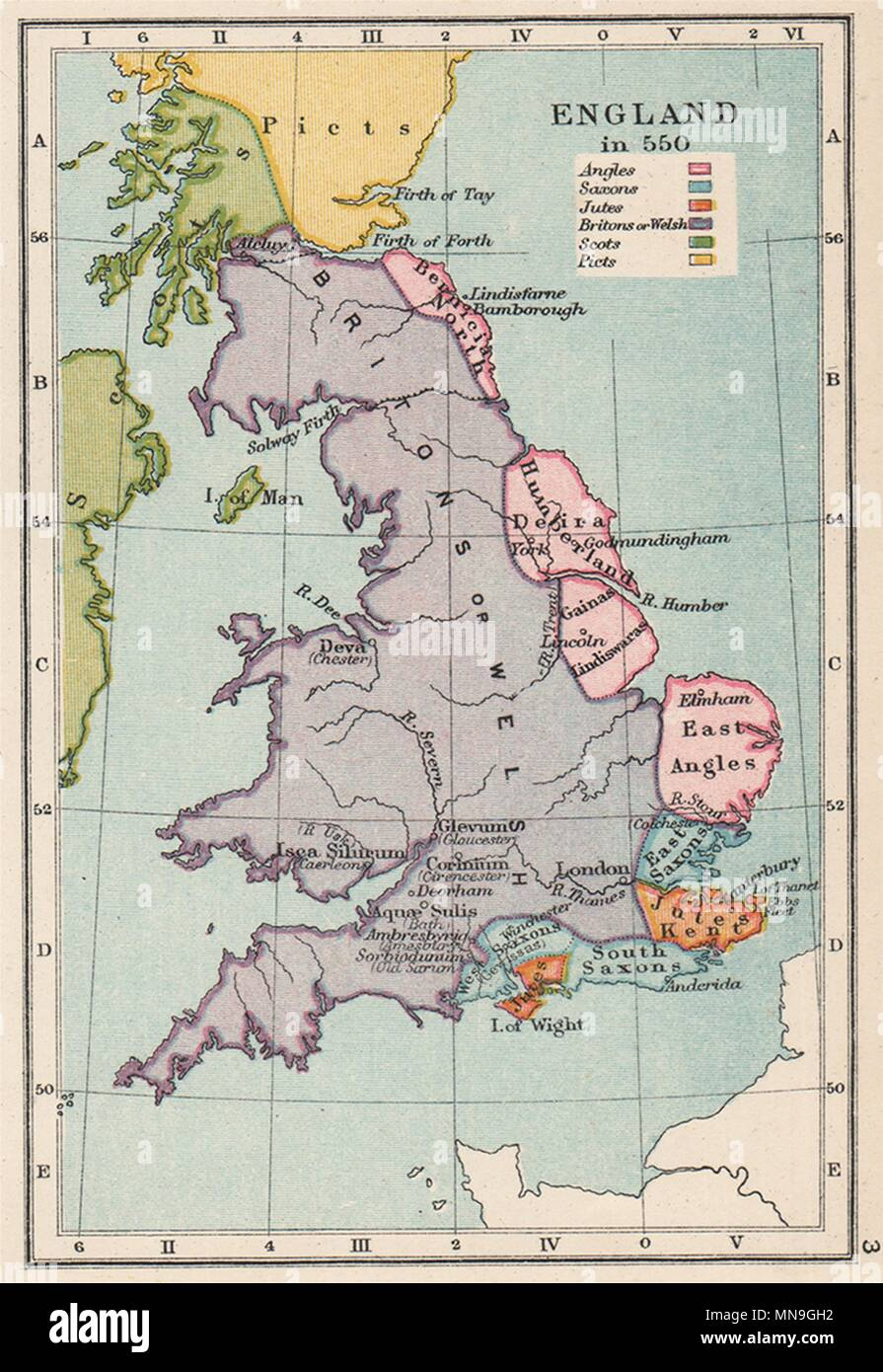 ENGLAND IN 550. Ethnic. Britons Angles Saxons Jutes Picts Scots. SMALL 1907 map - Stock Image