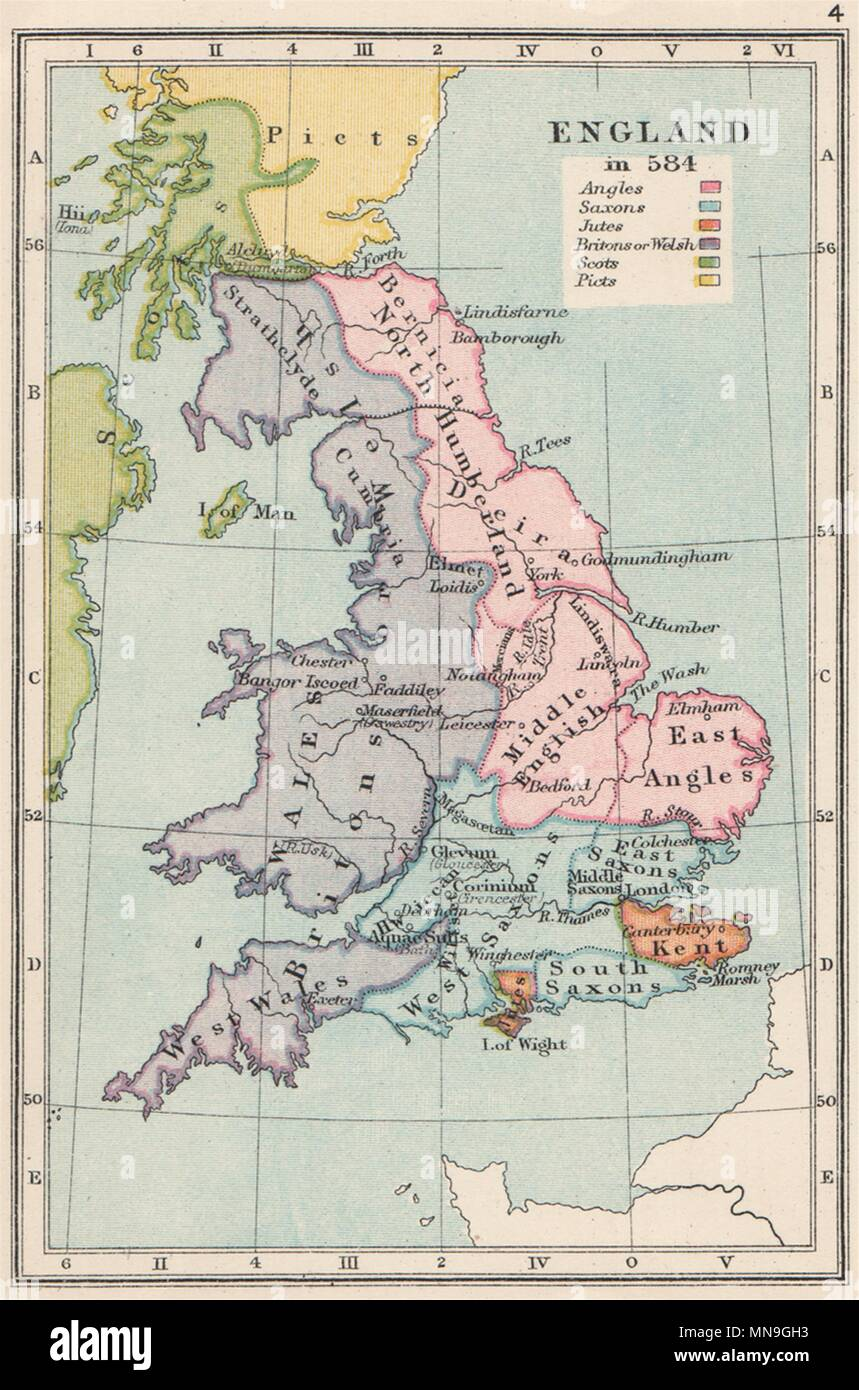 ENGLAND IN 584. Ethnic. Britons Angles Saxons Jutes Picts Scots. SMALL 1907 map - Stock Image