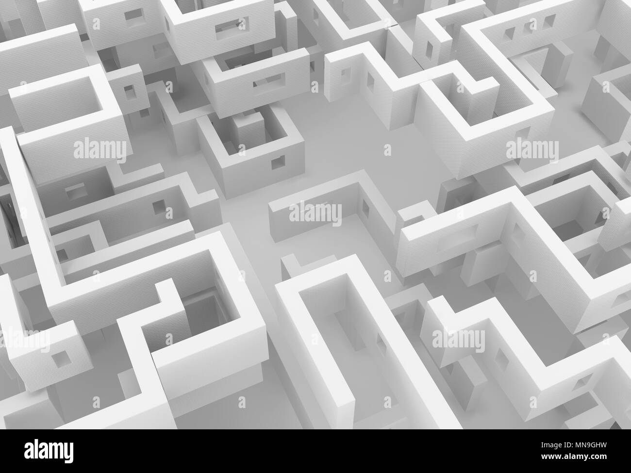 White wall labyrinth maze empty space abstract, 3d illustration, horizontal - Stock Image