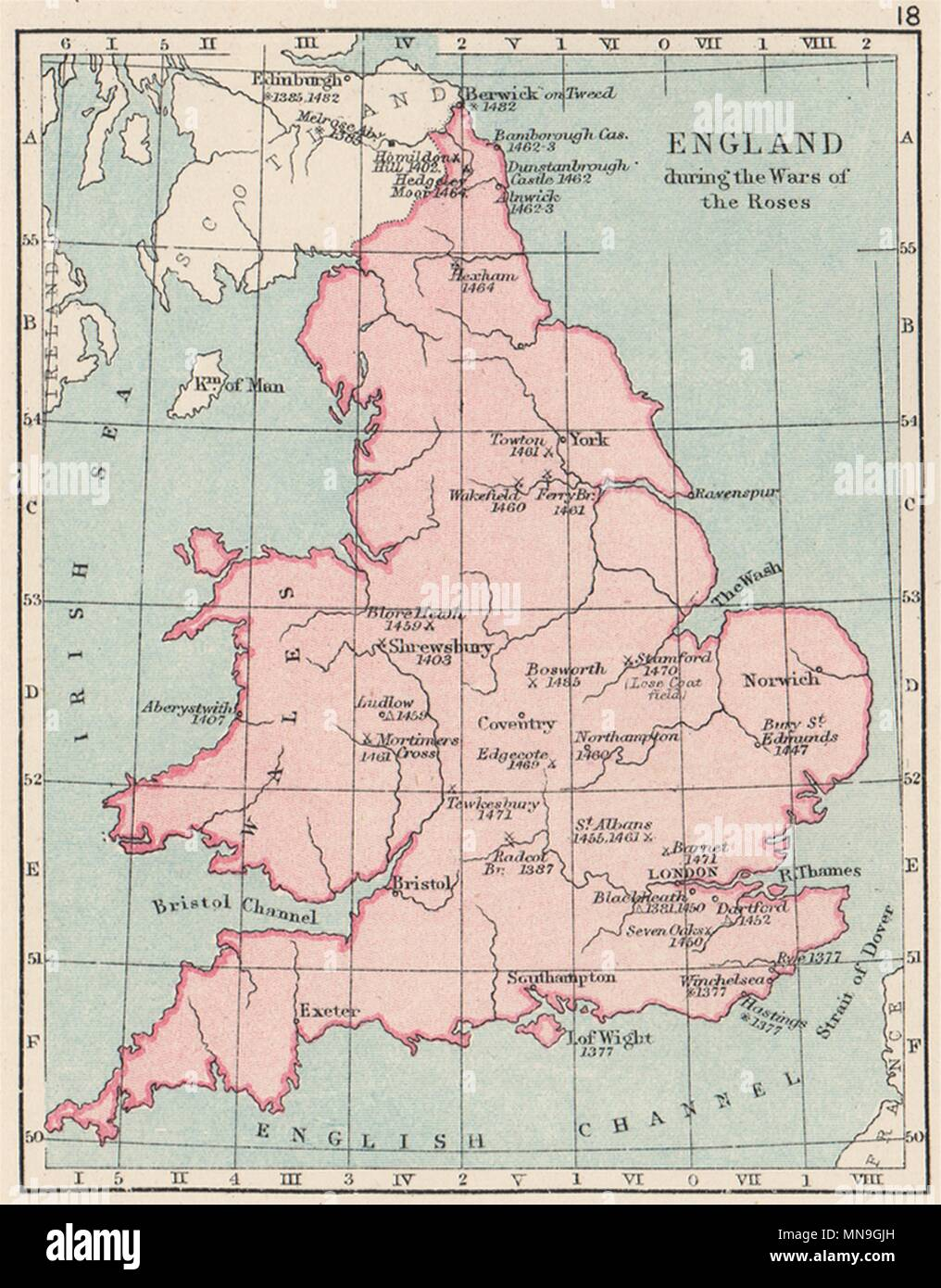 SMALL 1907 old map WARS OF THE ROSES Battles//raids /& dates England /& Wales