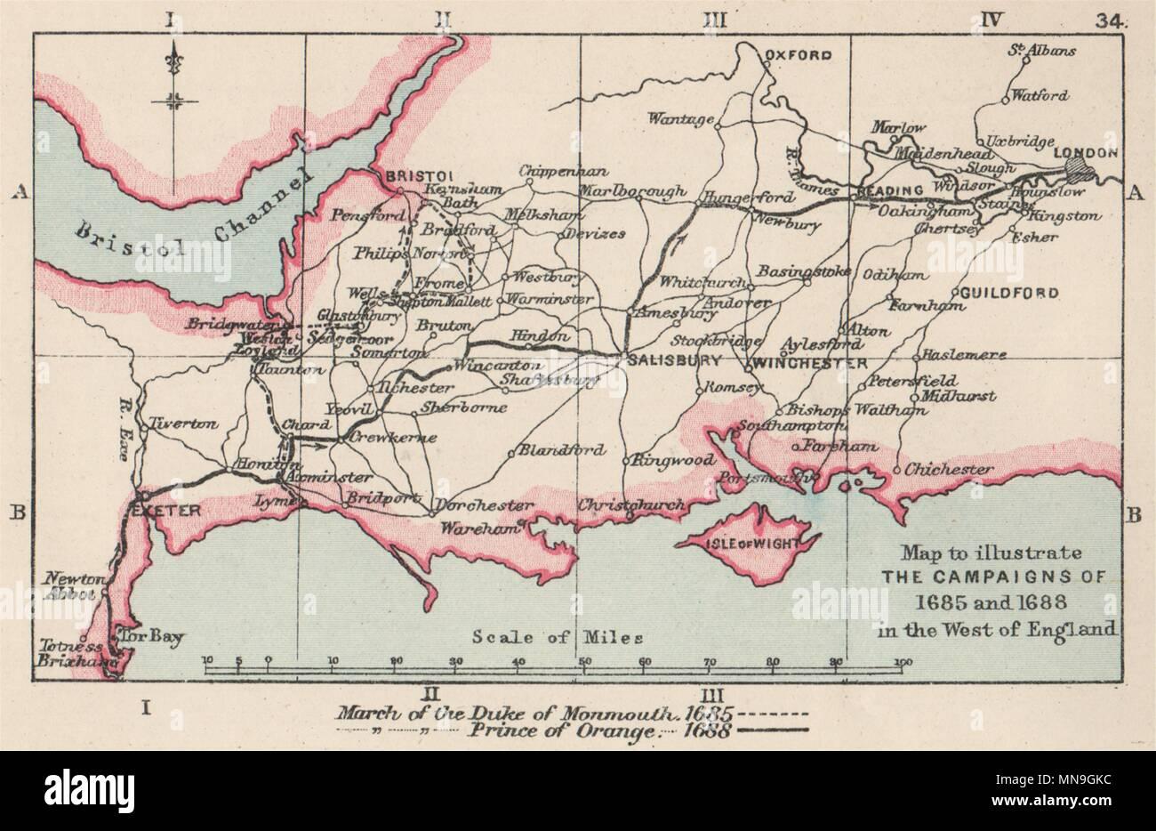 GLORIOUS REVOLUTION 1688. William of Orange. Monmouth rebellion 1685 1907 map - Stock Image
