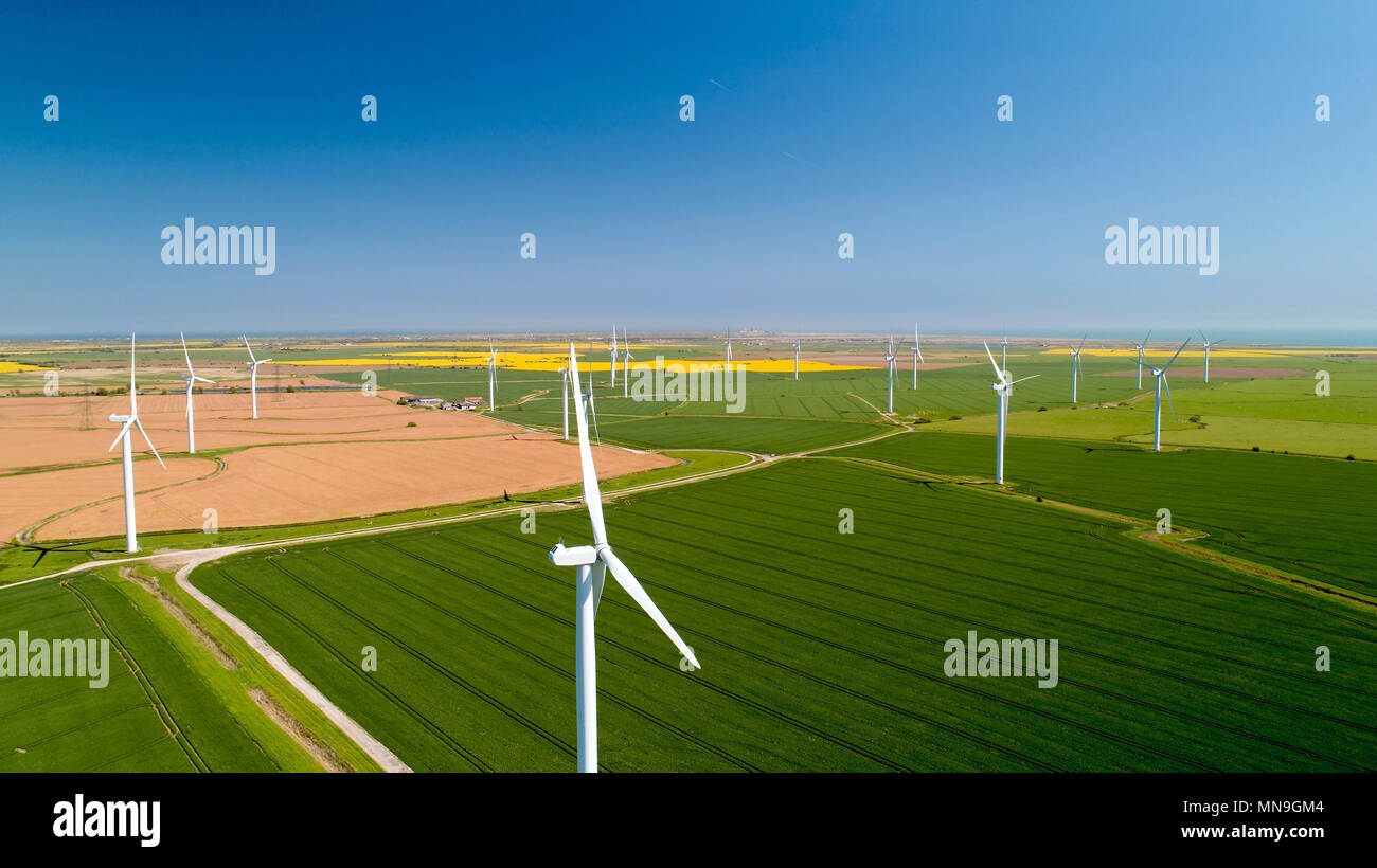 Aerial photo of wind turbines in the fields, Rye, Sussex - Stock Image