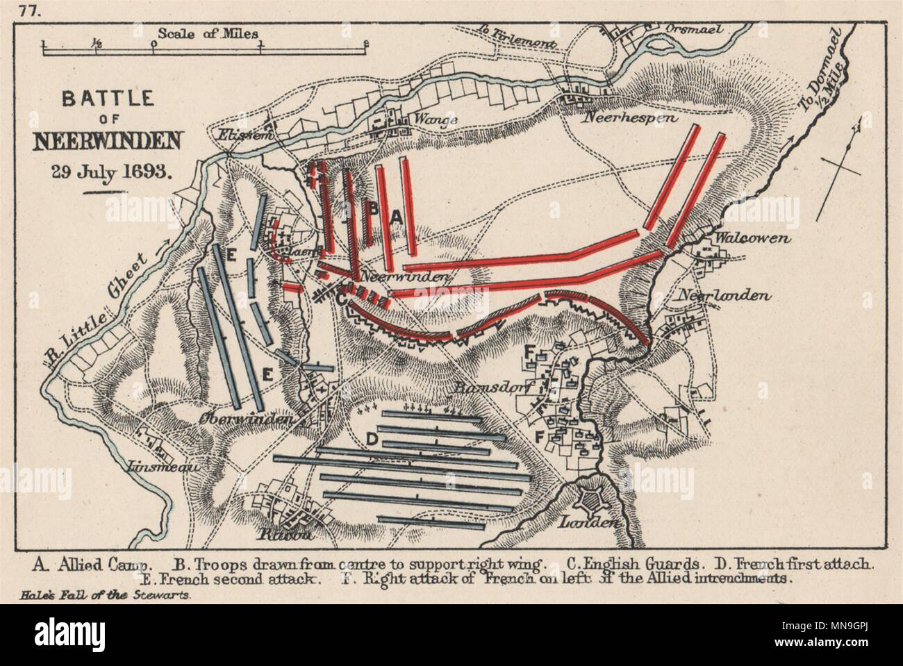 Battle of Neerwinden July 1693. French v Allies. SMALL 1907 map