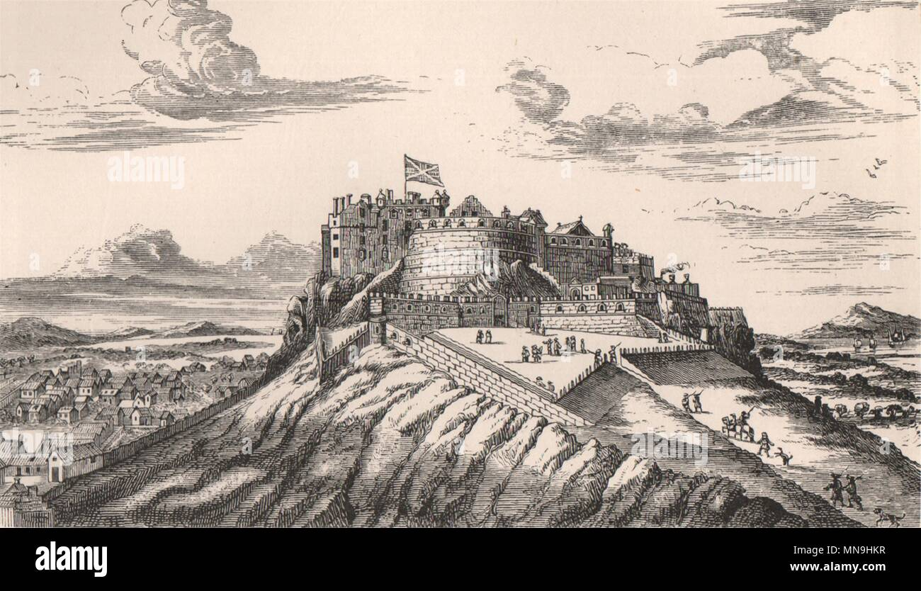 Scotland 1885 old print from the North-East View in 1715 EDINBURGH CASTLE