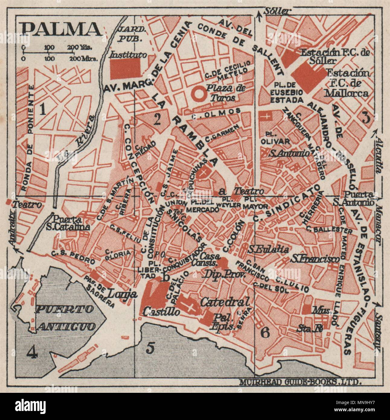 Map Of Spain Majorca.Palma De Mallorca Vintage Town City Map Plan Spain Majorca 1930