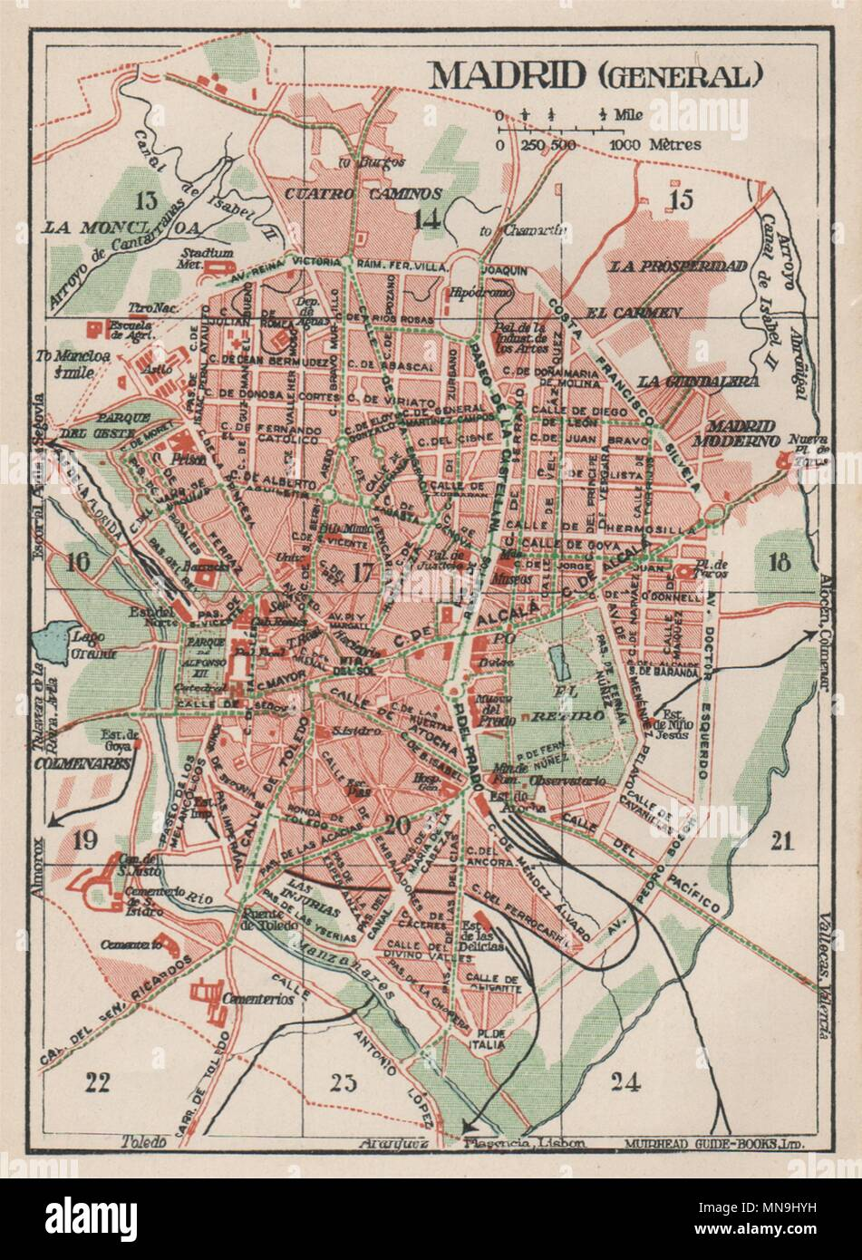 Map Of Spain 1930.Madrid Vintage Town City Map Plan Spain 1930 Old Vintage Chart