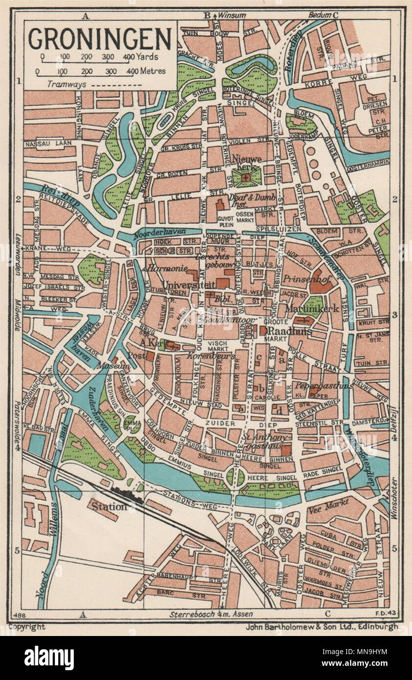 GRONINGEN. Vintage town city map plan. Netherlands 1933 old vintage ...