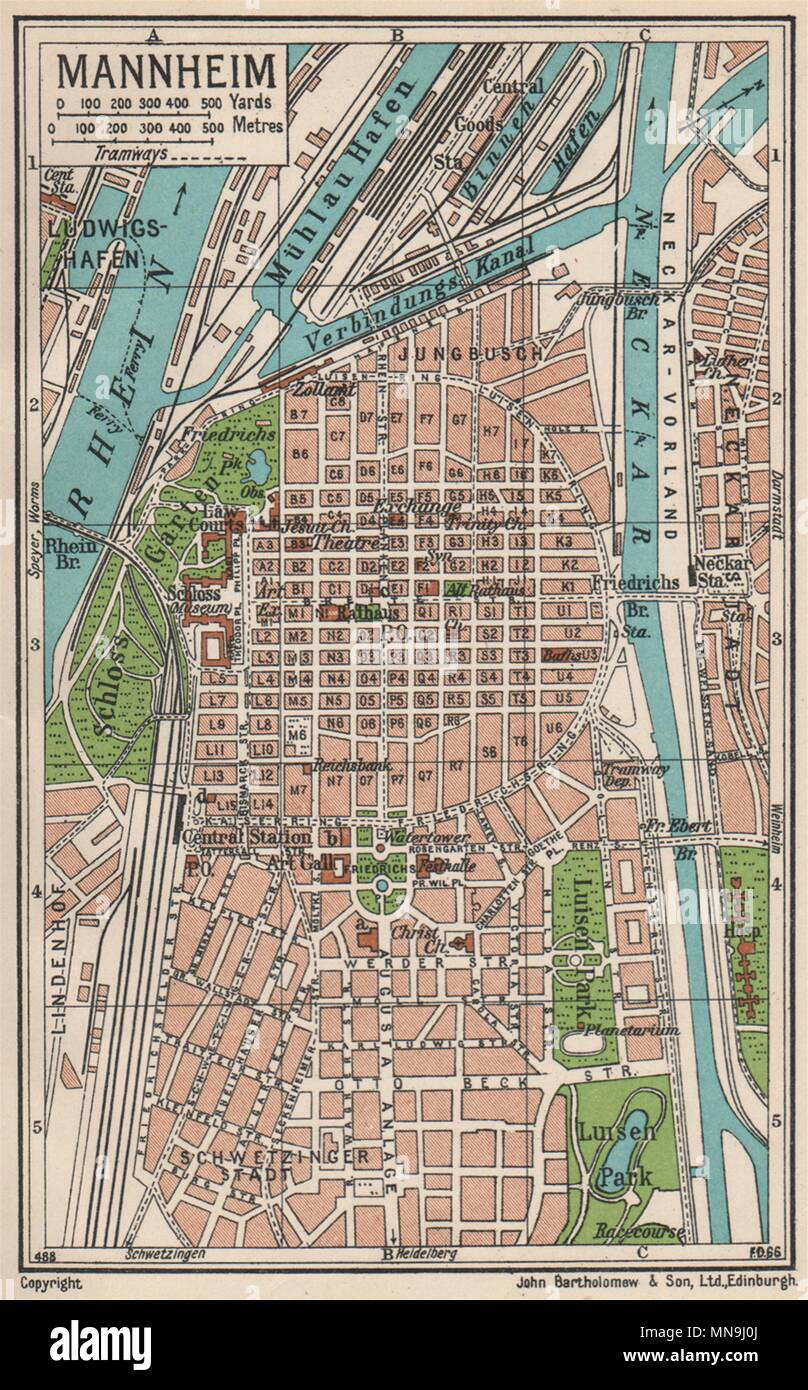 Map Of Germany Mannheim.Mannheim Vintage Town City Map Plan Germany 1933 Old Vintage Chart