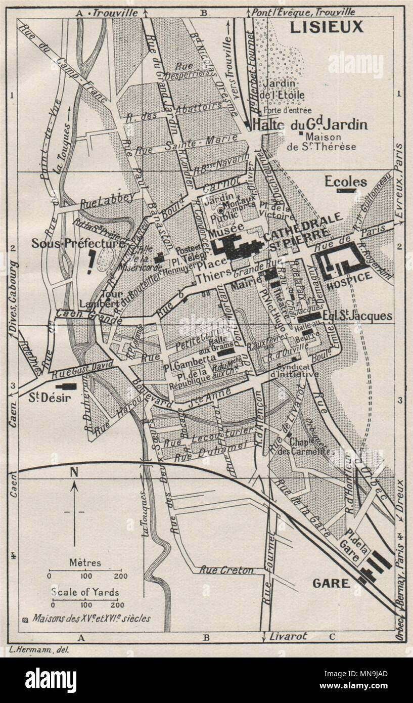 Saintes 1926 Old Vintage Map Plan Chart Antiques France