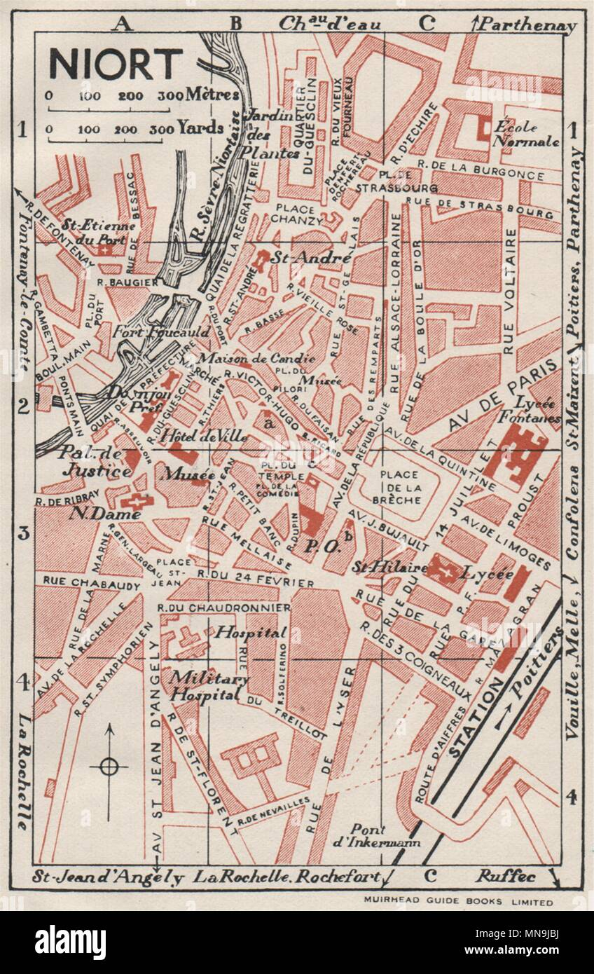 Poitiers Vintage Town City Map Plan Vienne 1926 Old Vintage Chart