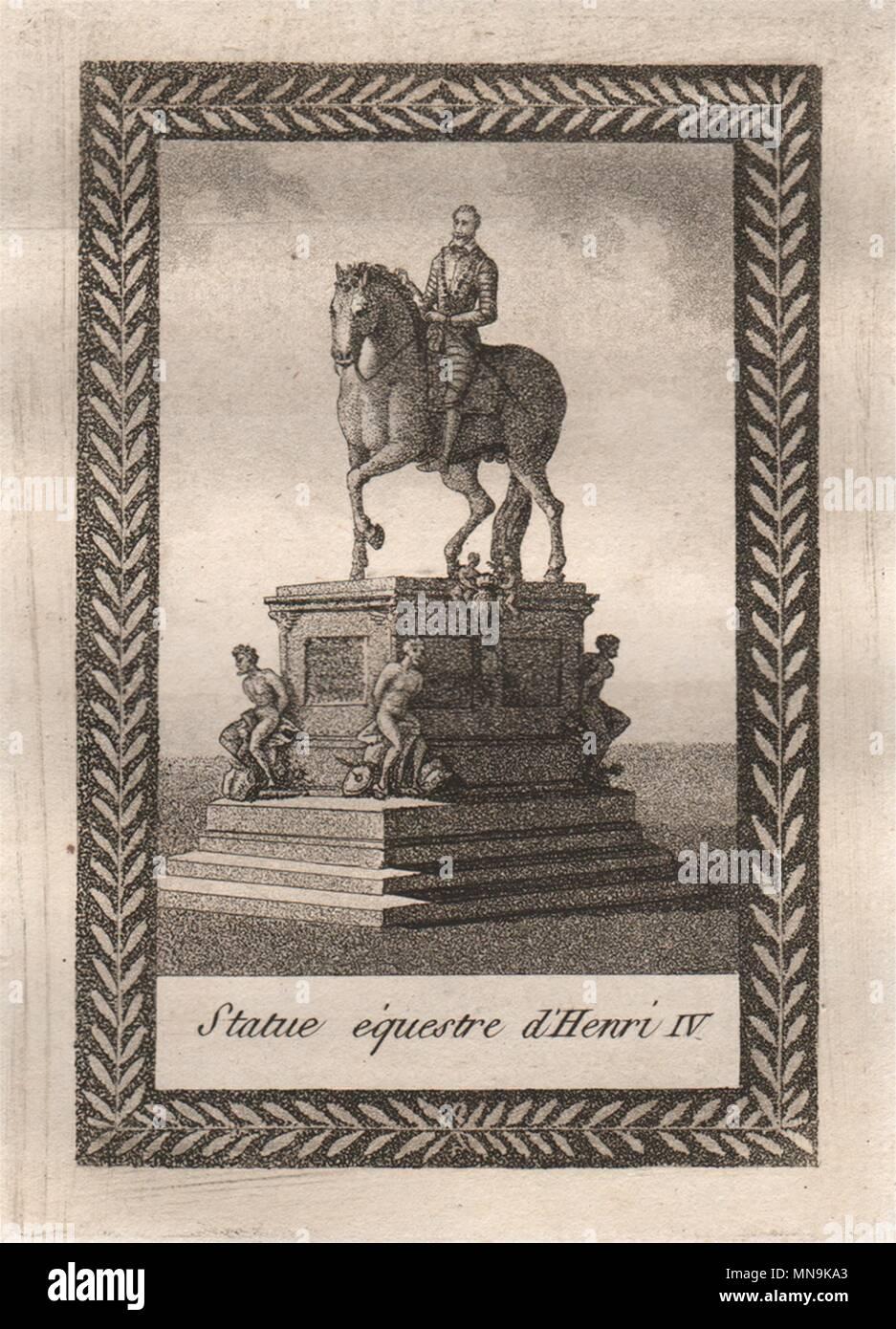 PARIS. Statue équestre d'Henri IV. Aquatint. SMALL 1808 old antique print - Stock Image