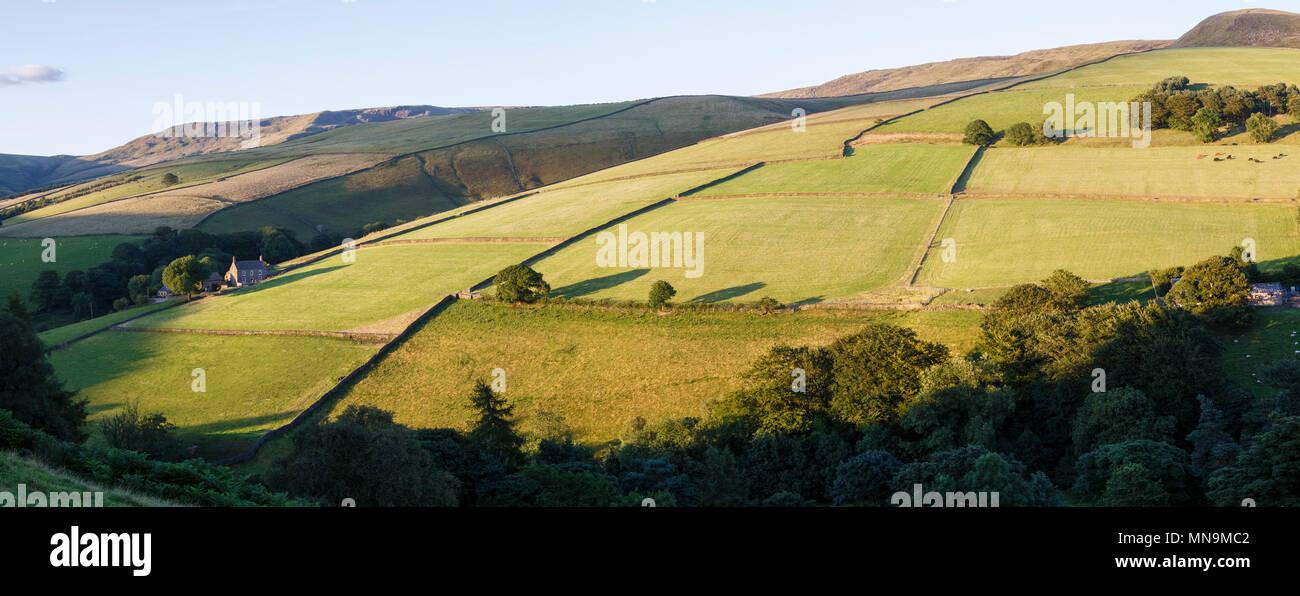Evening light in the upper Sett Valley, near Hayfield, Peak District National Park, Derbyshire - Stock Image