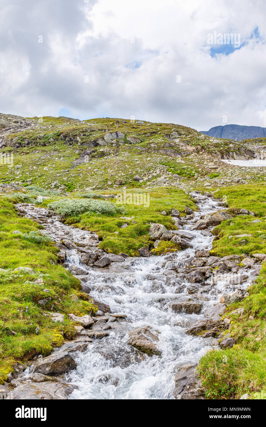Mountain river in a high country landscape - Stock Image