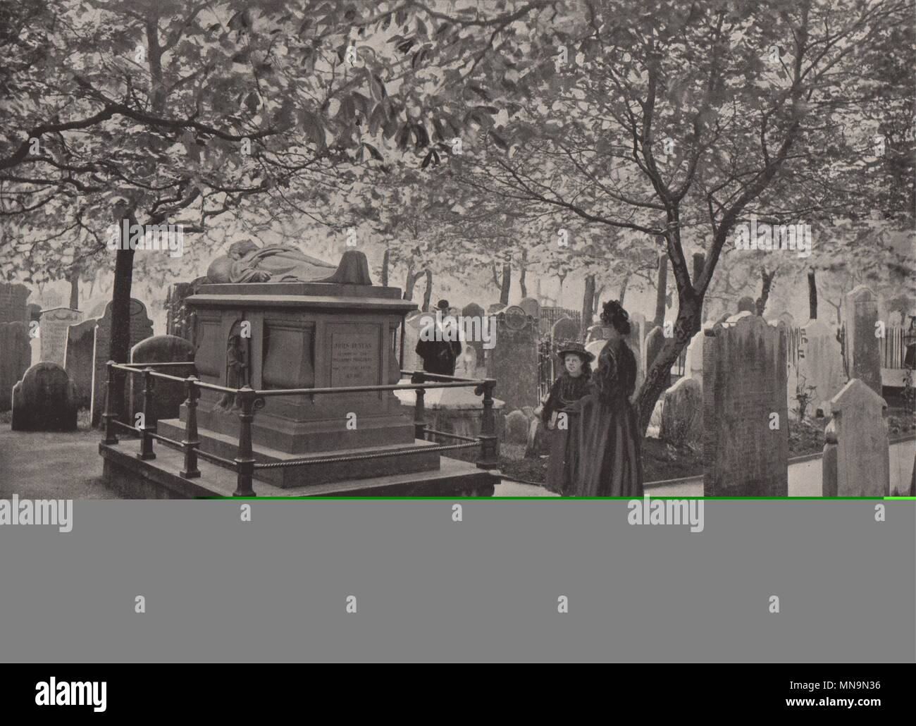 Bunyan's Tomb in Bunhill fields. London 1896 old antique vintage print picture - Stock Image