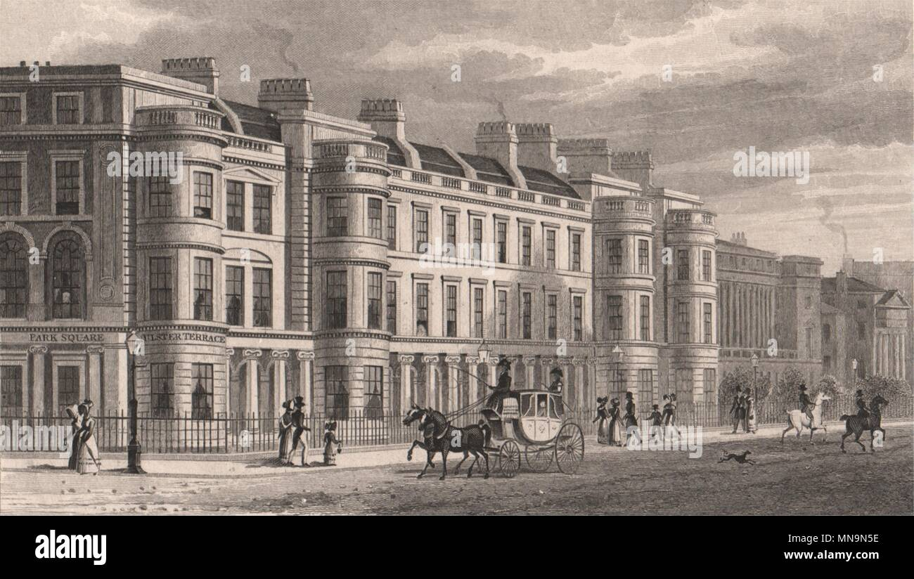 Regent S Park Ulster Terrace London Shepherd 1828 Old Antique Print Picture Stock Photo Alamy