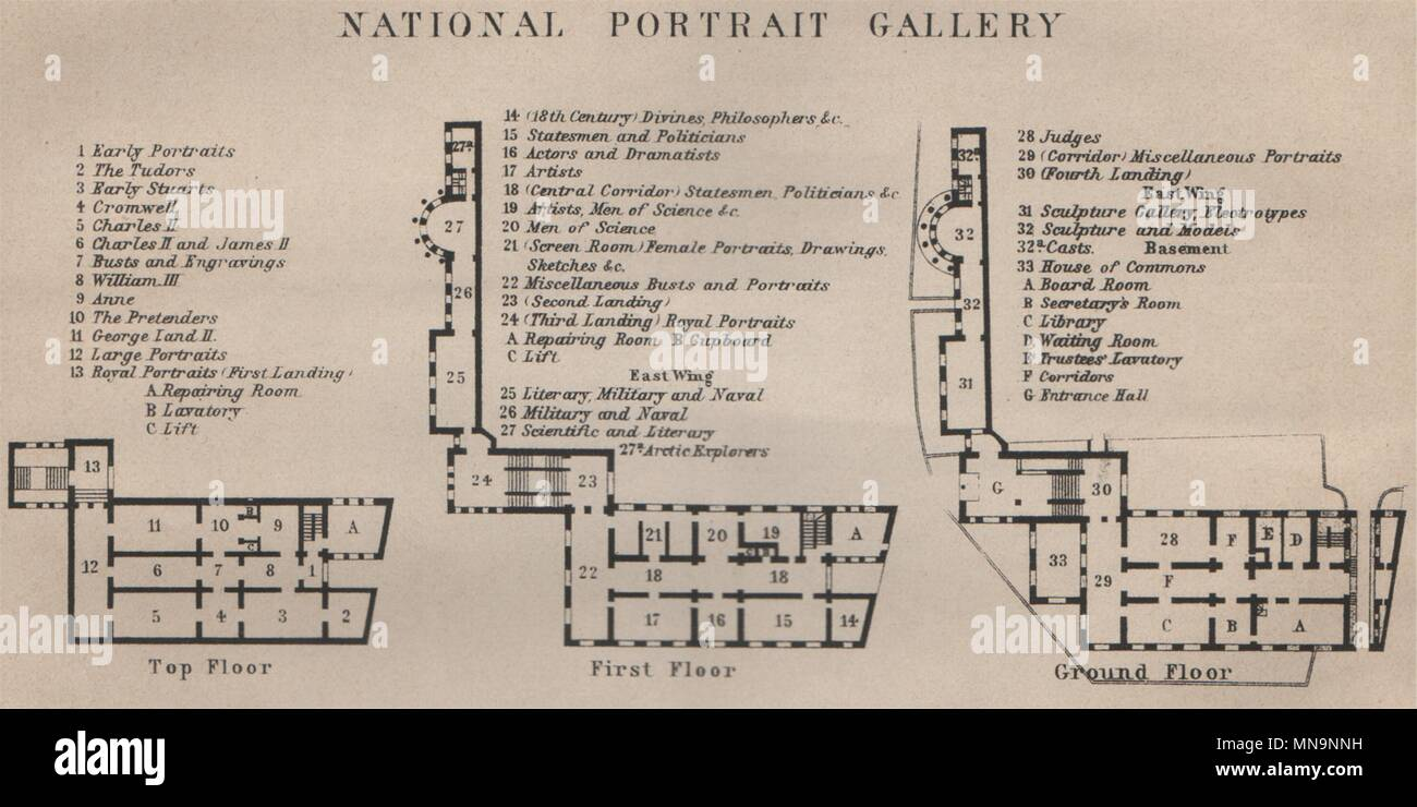 National Gallery London Map.National Portrait Gallery Floor Plan London Baedeker Small 1905