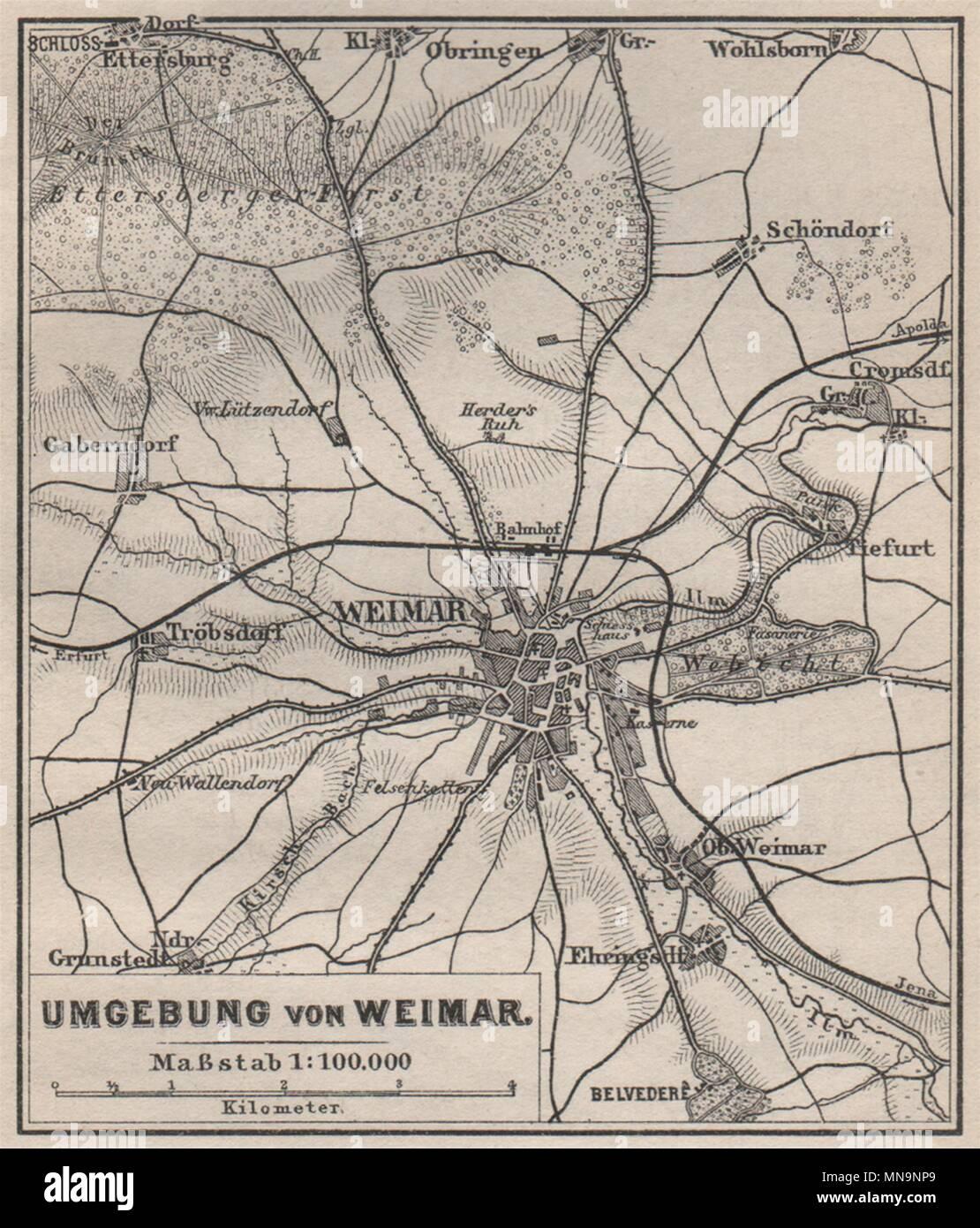 Karte Weimar Und Umgebung.Weimar Umgebung Environs Thuringia Karte Baedeker Small