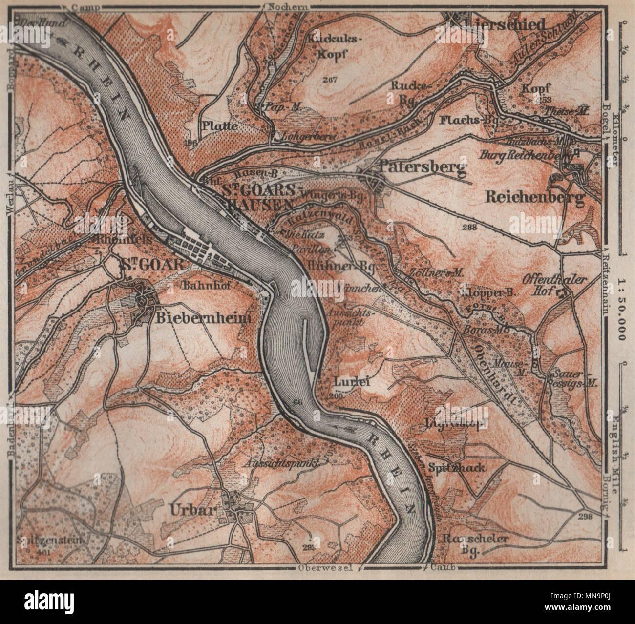 Mittelrheintal Karte.Sankt Goar St Goarshausen Oberes Mittelrheintal Rhine Gorge
