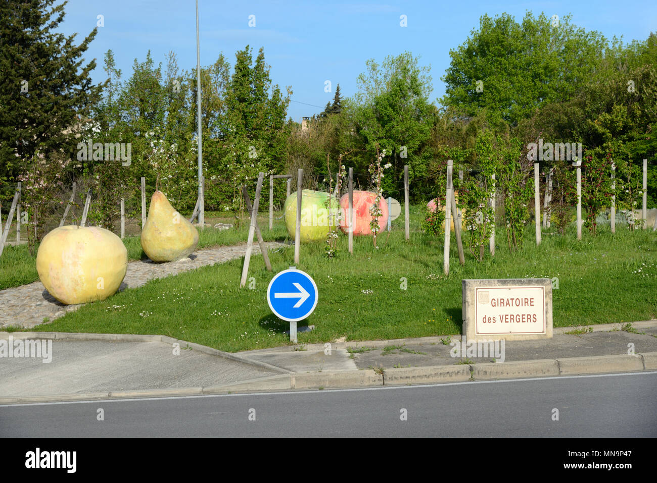 Fruit Sculpture on Roundabout at Cavaillon Provence France - Stock Image