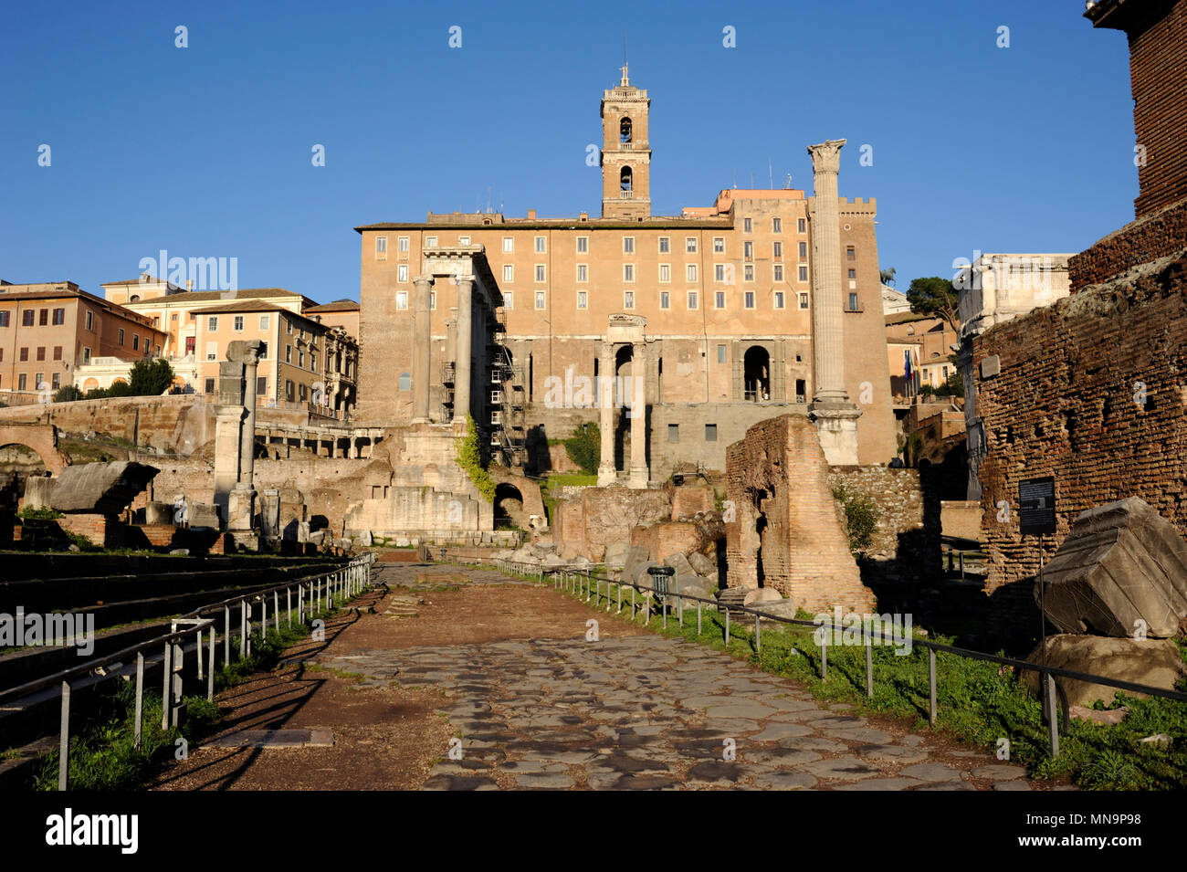 italy, rome, roman forum, via sacra street - Stock Image