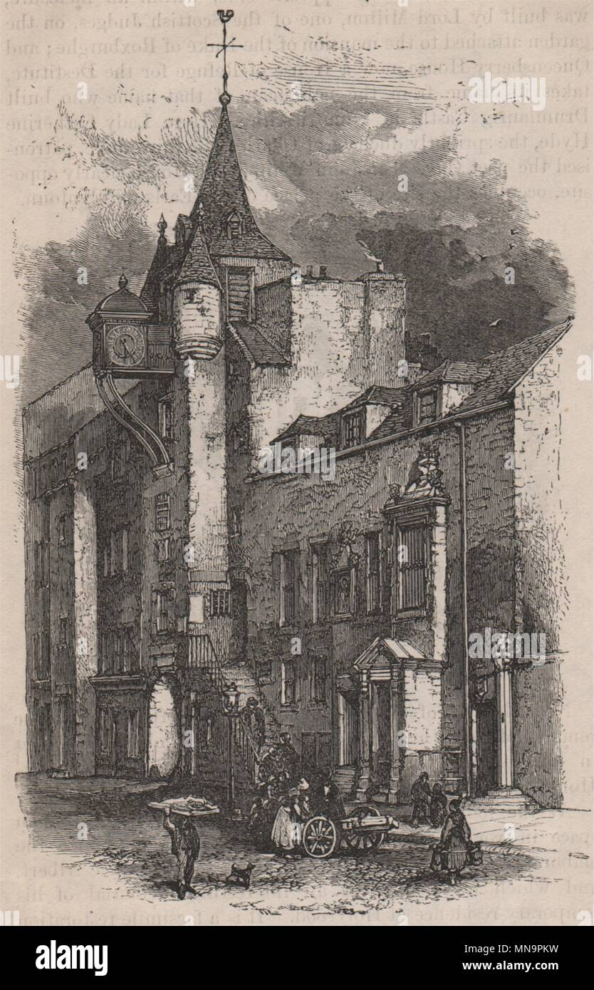 Canongate tolbooth, Edinburgh (A.D. 1591). Scotland 1886 old antique print