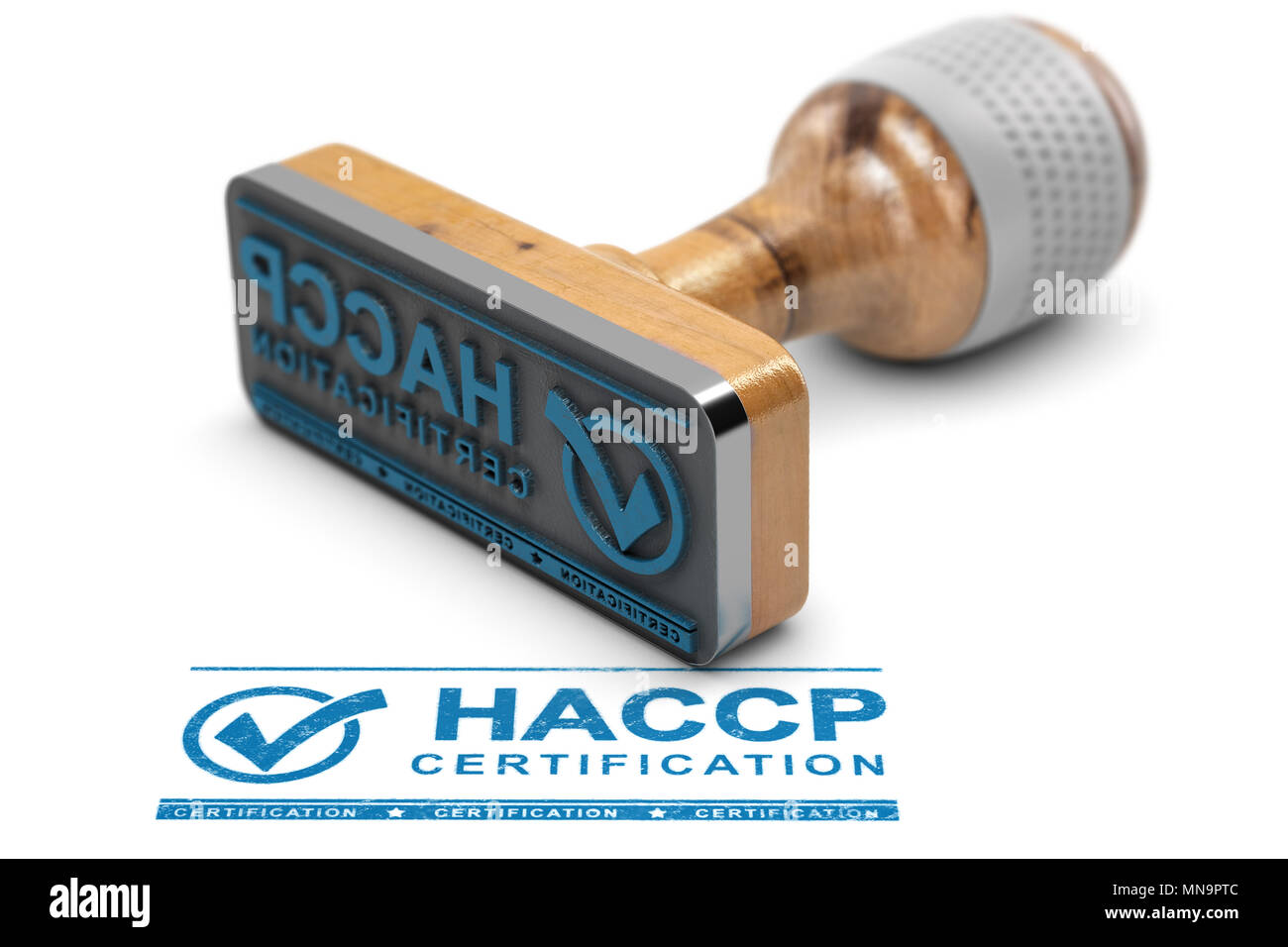 Rubber Stamp With The Text Haccp Certification Stamped Over White