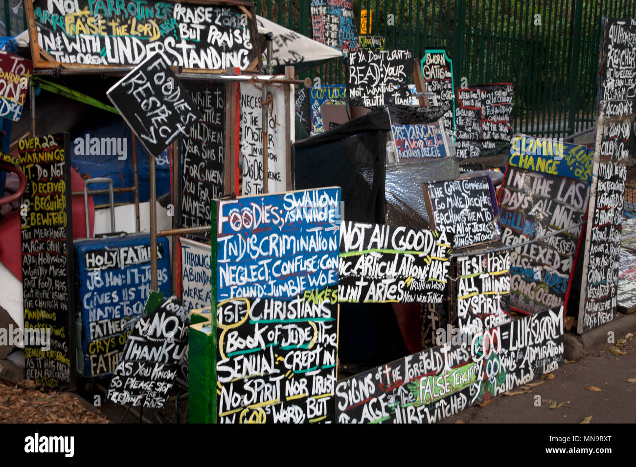 protesters writings and boards belmore park sydney new south wales australia - Stock Image