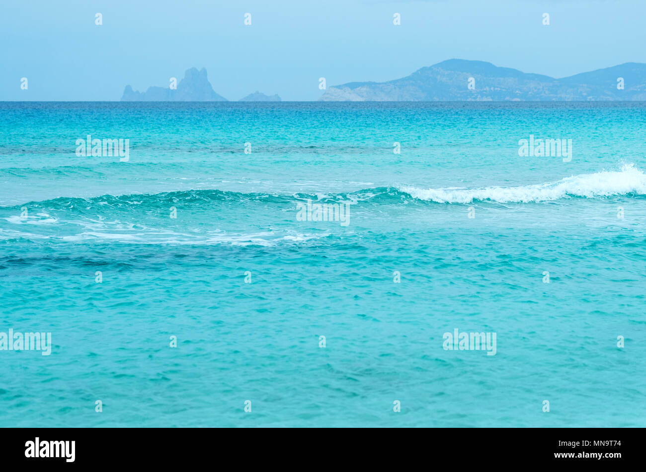 Turquoise water. Illetes beach in Formentera. Balearic Islands. Spain - Stock Image