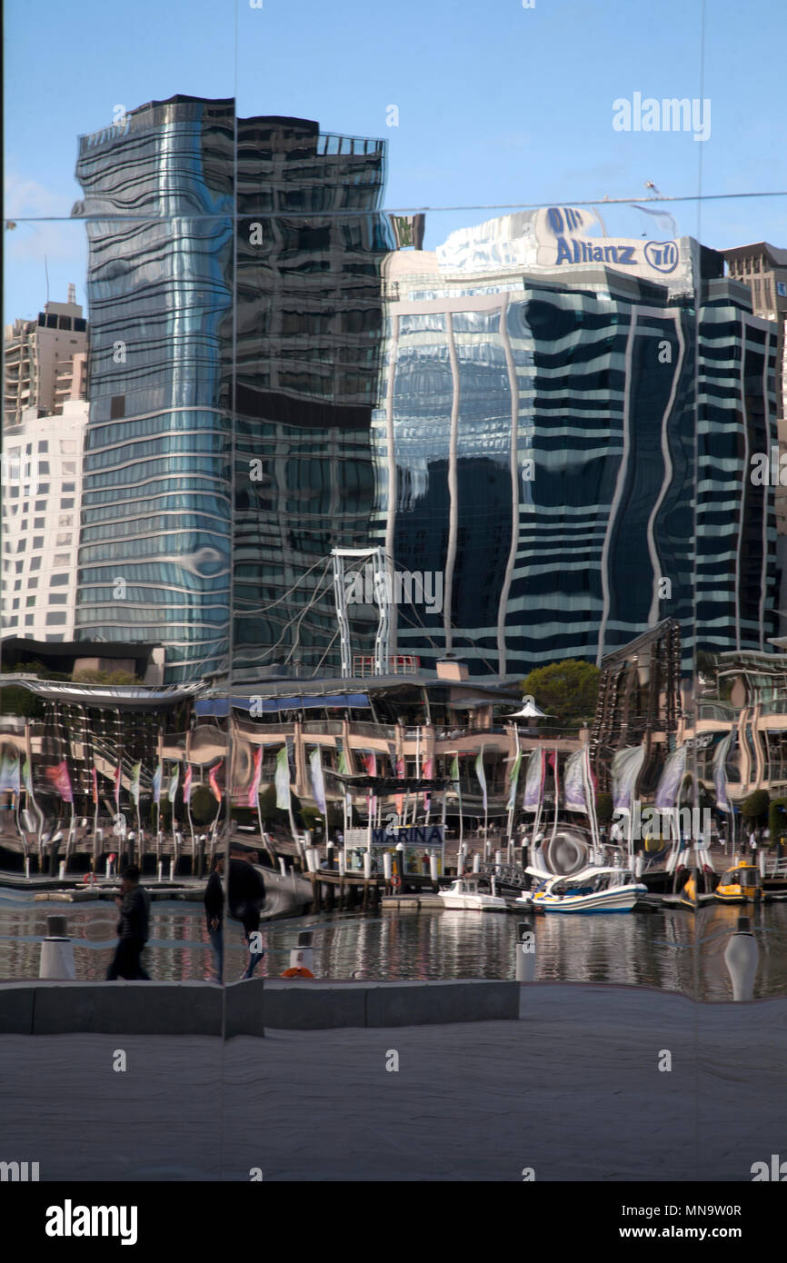 darling harbour reflections sydney new south wales australia - Stock Image