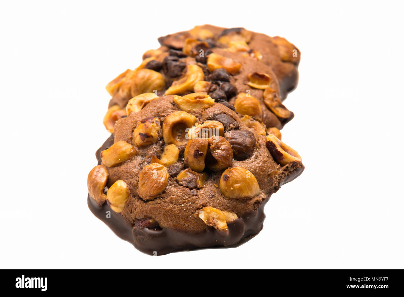 delicious artisan chocolate and almond cookies isolated on white background - Stock Image