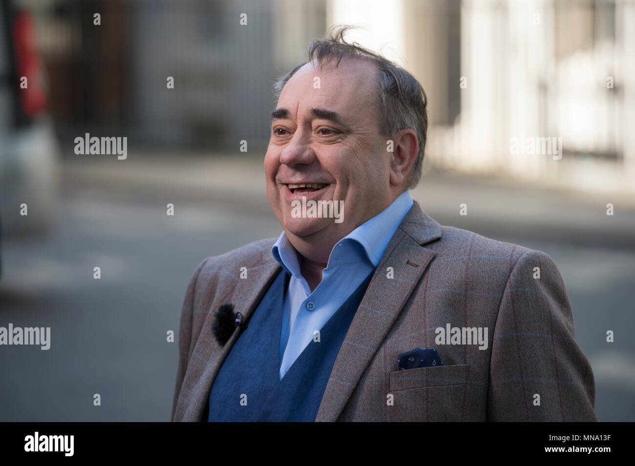 Former First Minister of Scotland Alex Salmond in Downing Street fronting a media broadcast on 15 May 2018 - Stock Image