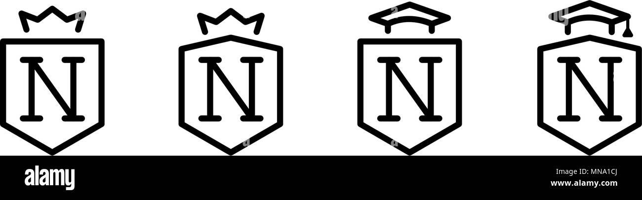 n letter king royal crown black white luxury brand hotel fashion